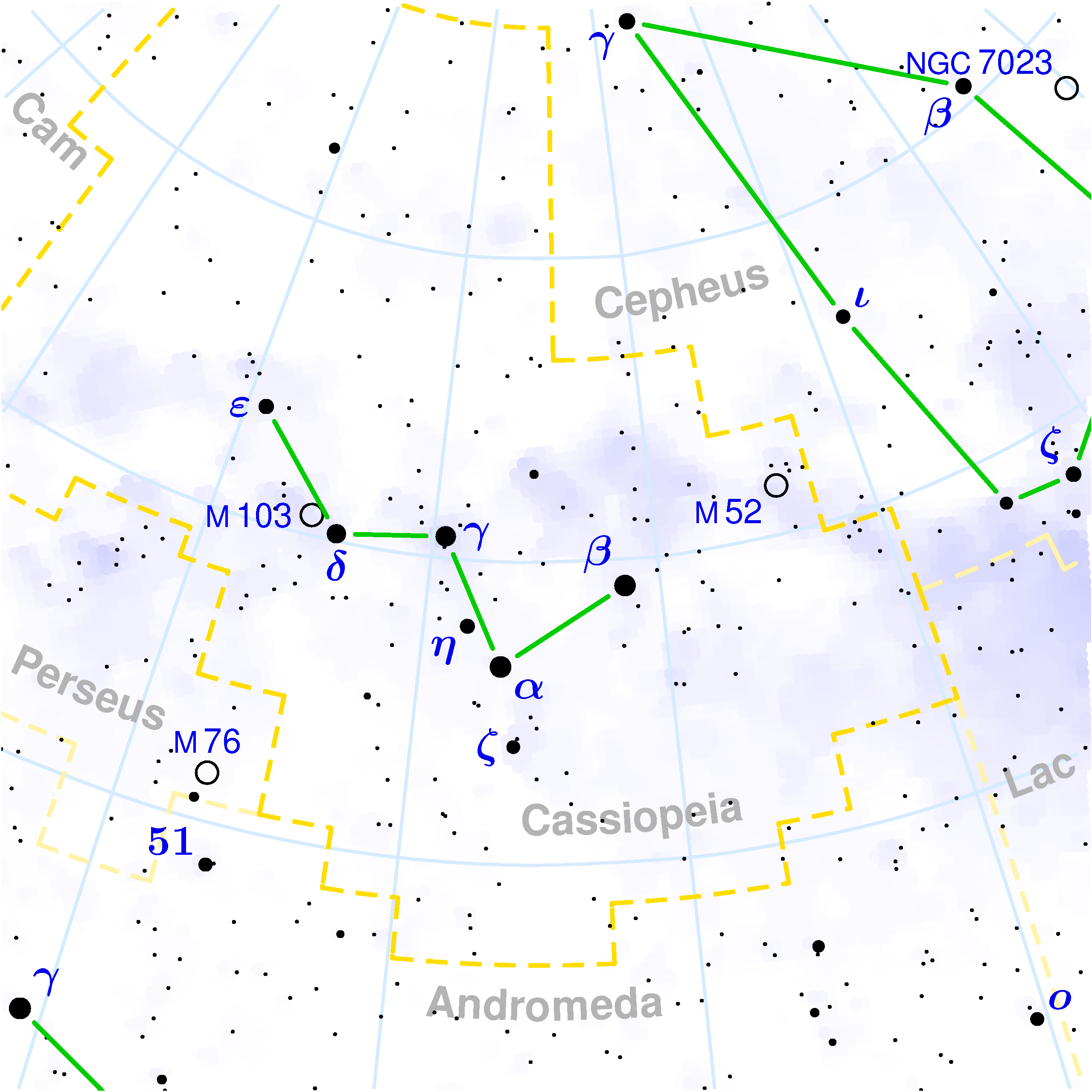 Cassiopeia constellation.  η Cas is a binary star. Image. Torsten Bronger, Wikimedia.