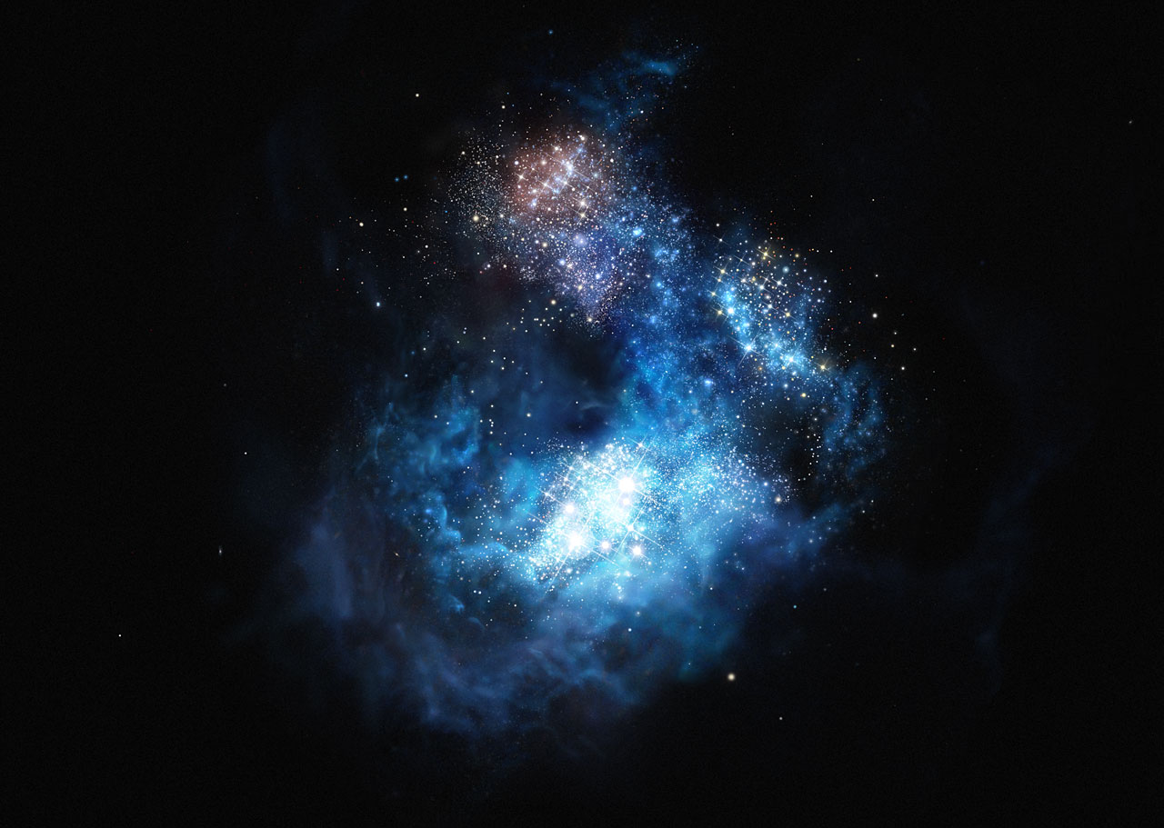 Artist's impression on very distant galaxy, which may have first generation stars. Image: M. Kornmesser, ESO.