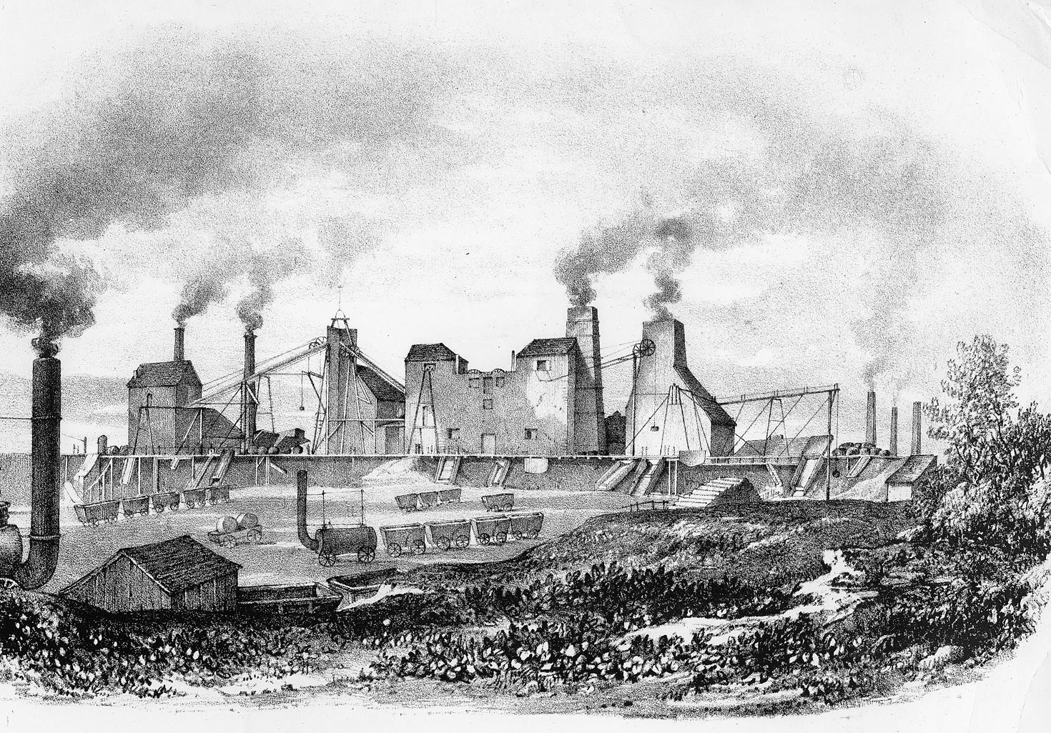 Hetton Colliery coal mine. Steam engines running on coal were utilized in the coal production. Image: The Art Archive, Alamy Stock Photo.