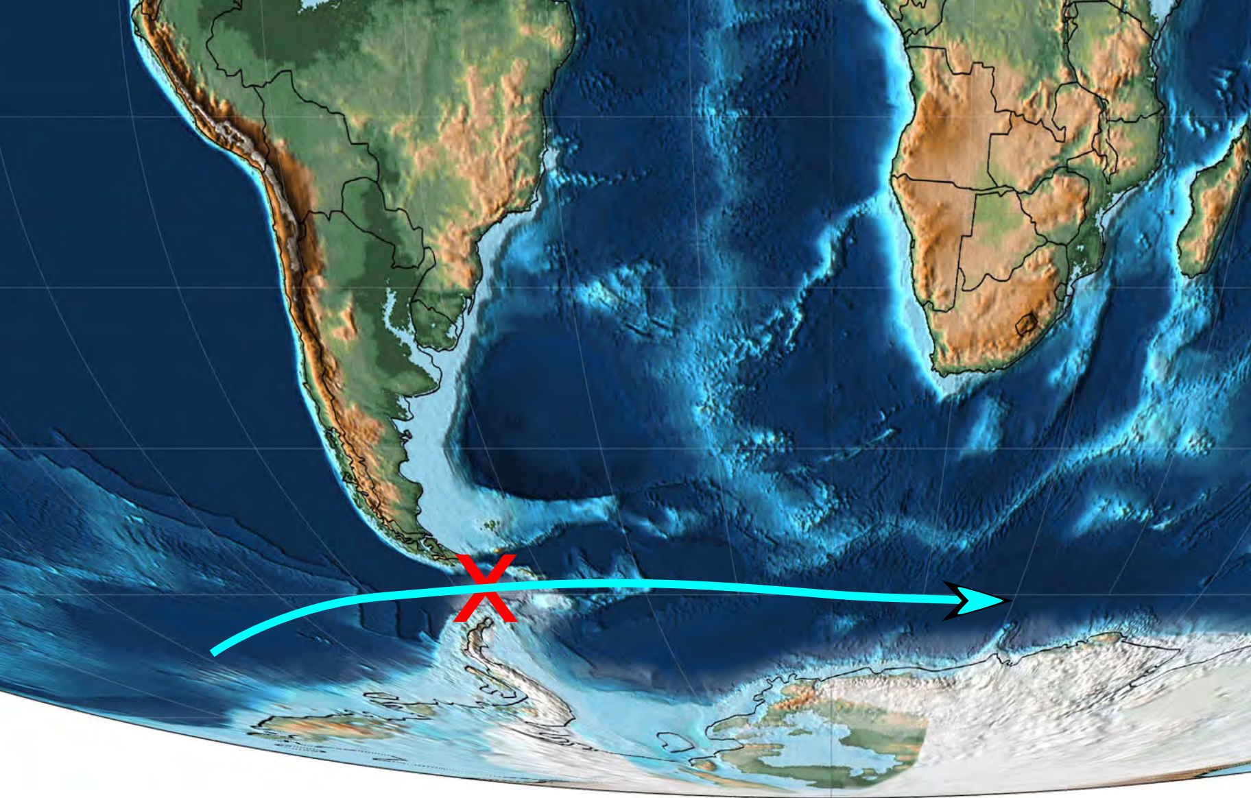 Isthmus between Antarctica and South America breaks and cold sea current starts to cool the climate. Map: Christopher R. Scotese