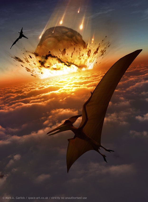 Majority of dinosaurs and all pterosaurs went extinct after large asteroid impact. Image: Mark A. Garlick