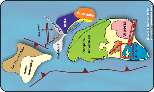 Supercontinent Columbia (or Nuna). Continents have several times collected together as supercontinents and again broken down to smaller parts. Image: Ari Brozinsky, Geologia.fi.