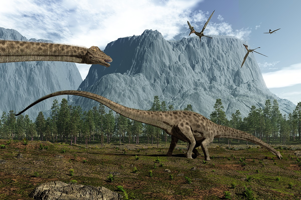 Jurassic scenery: Diplodocus sauropods, Pterodactyls and confiers. Image: Walter Myers.