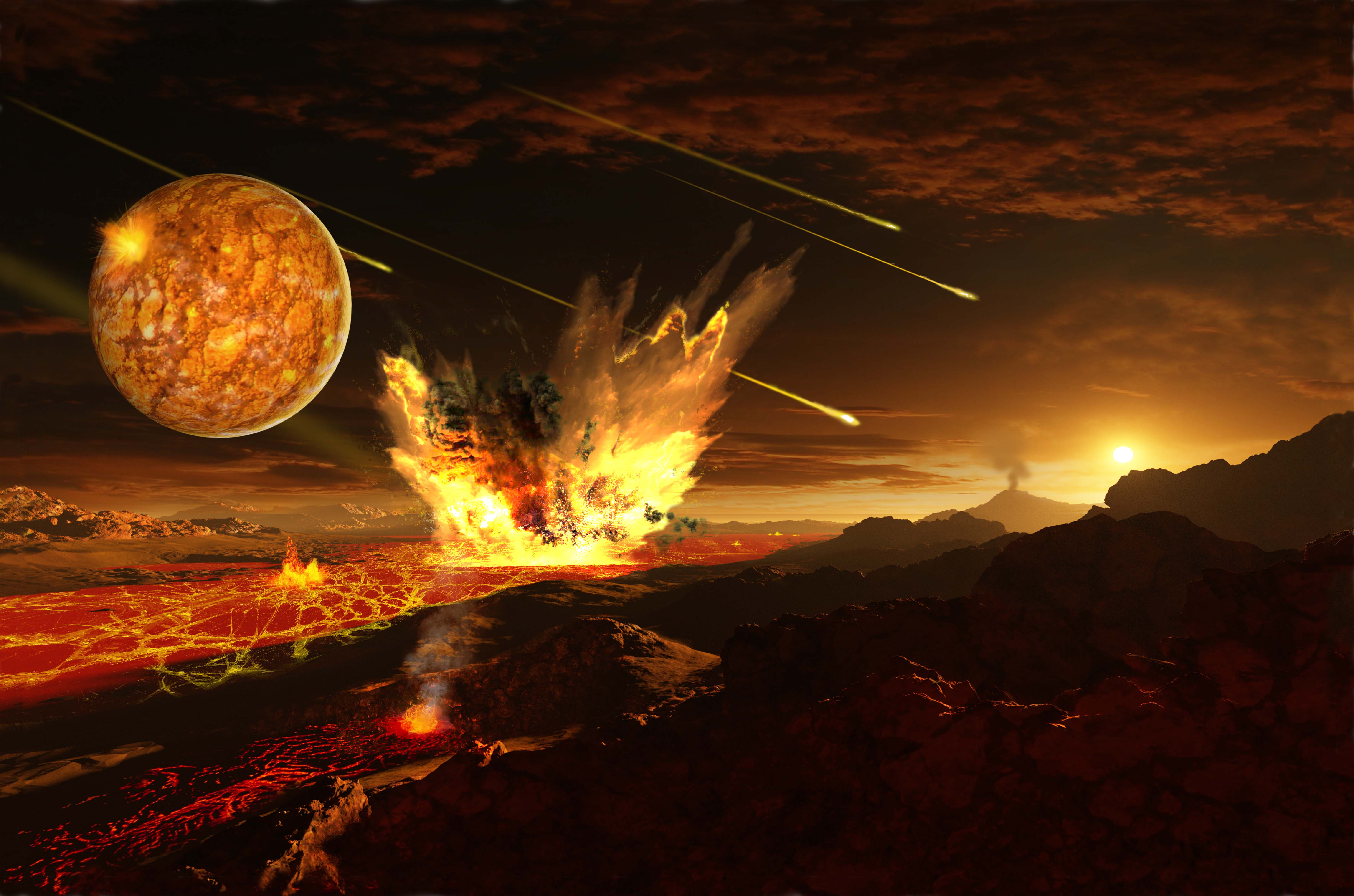 Earth was hit by an exceptionally large amount of various impactors about four billion years ago. Image: Ron Miller.