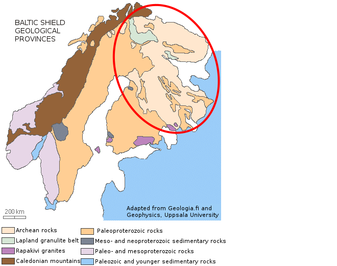 Karelian bedrock is very old. Image: Adapted from Geologia.fi and Geophysics, Uppsala University.
