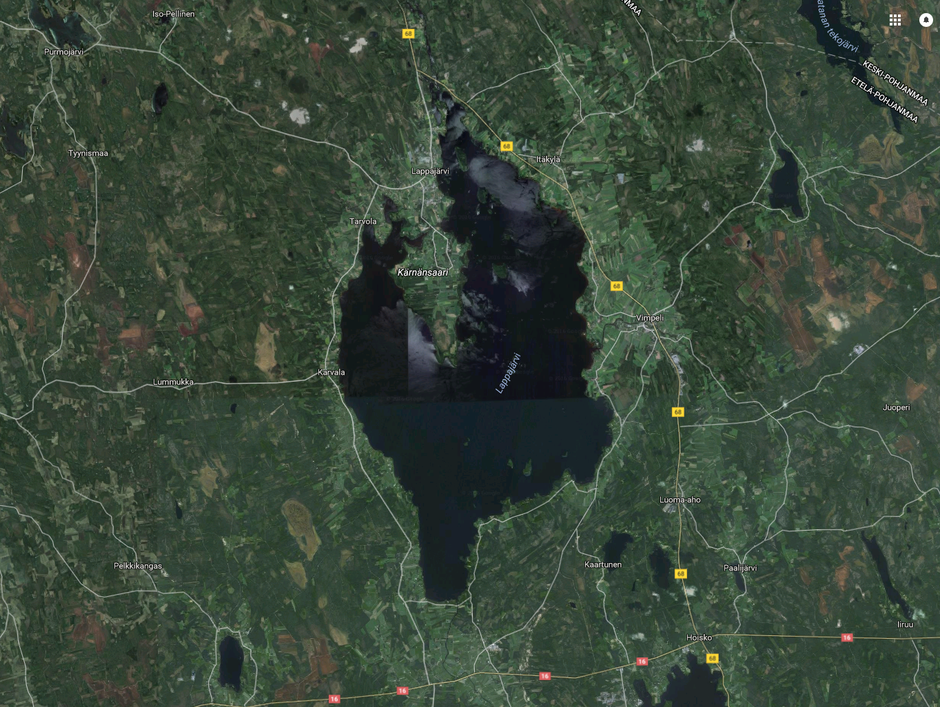 Lappajärvi is a meteorite crater. Image: Google Maps