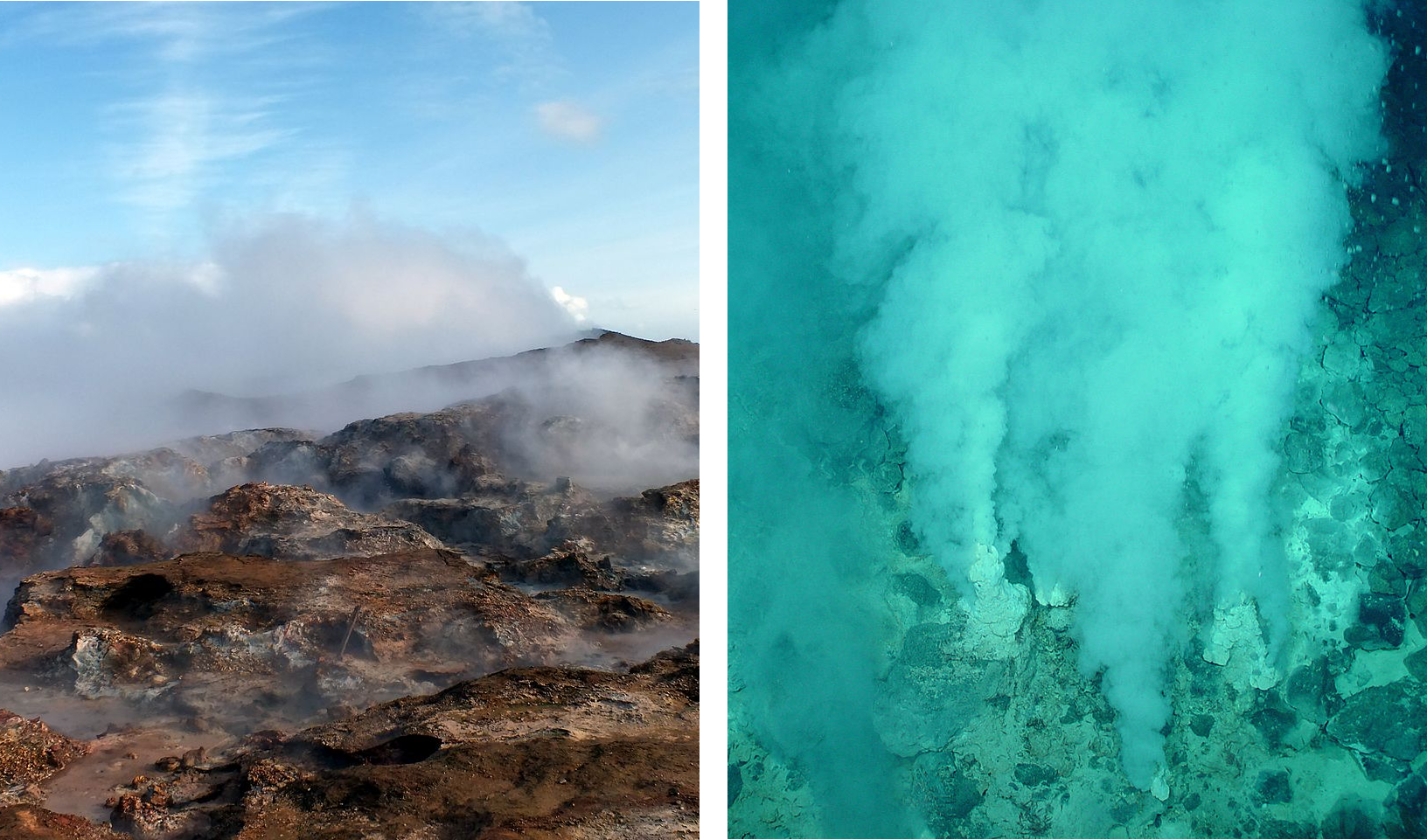 Life probably started at volcanic environment, such as fumarole field or inside the marine white smoker. Images: Óðinn and  NOOA, Wikimedia.