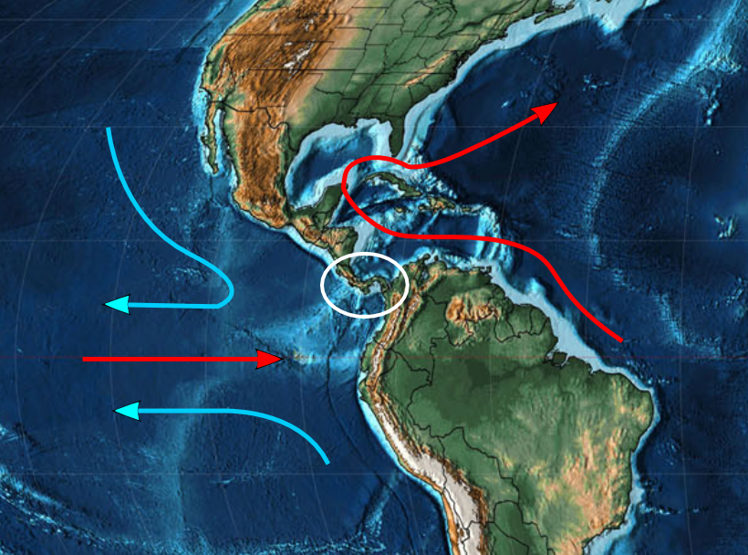 Closing of the Panama isthmus changed the sea current, which may have cooled the earth and contributed to the current ice-house climate. Arrows adapted from Oceanus Magazine, Map: Christopher R. Scotese.
