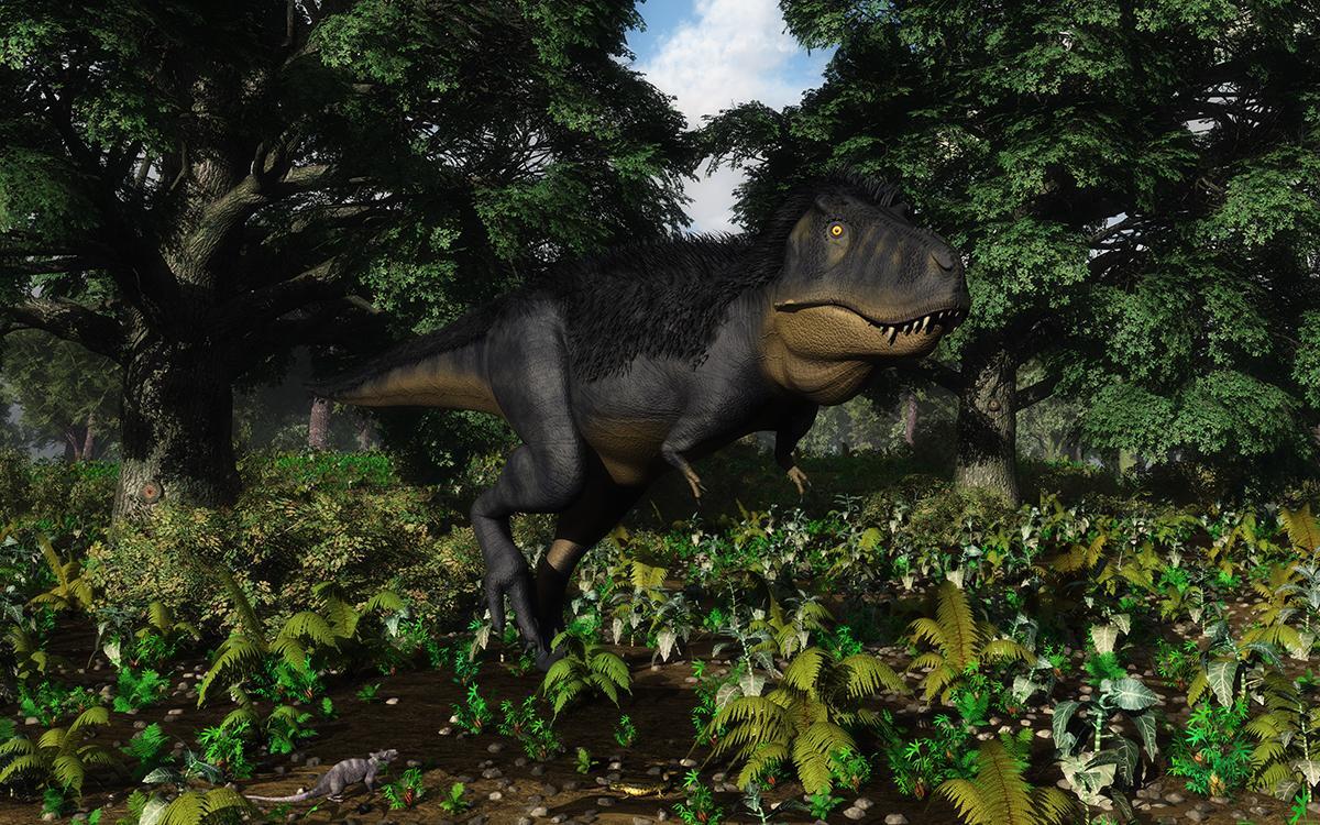 Tyrannosaurus rex ja varhainen nisäkäs Purgatorius suvusta. Ei ole varmuutta oliko T. rexillä höyhenpeite. Koska useilta muilta tyrannosauruksilta on löydetty merkkejä höyhenistä, on tähän kuvaan piirretty osittainen höyhenpeite. © Walter Myers