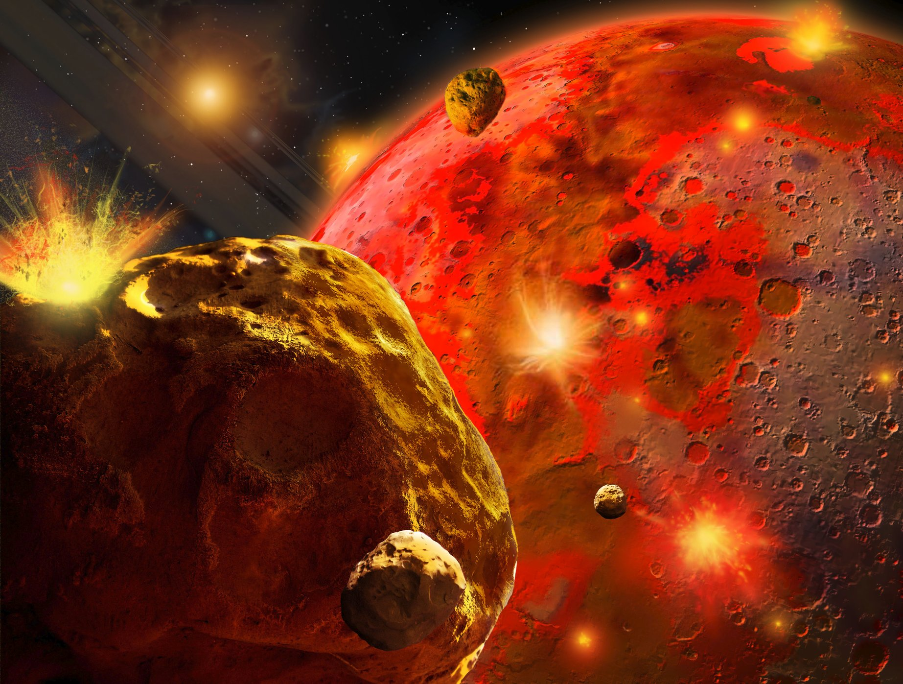 Asteroids of different sizes were impacting on the early Earth, which grew in size. Image: Ron Miller.